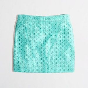 J. Crew Exploded Eyelet Mini Skirt Mint Teal B11